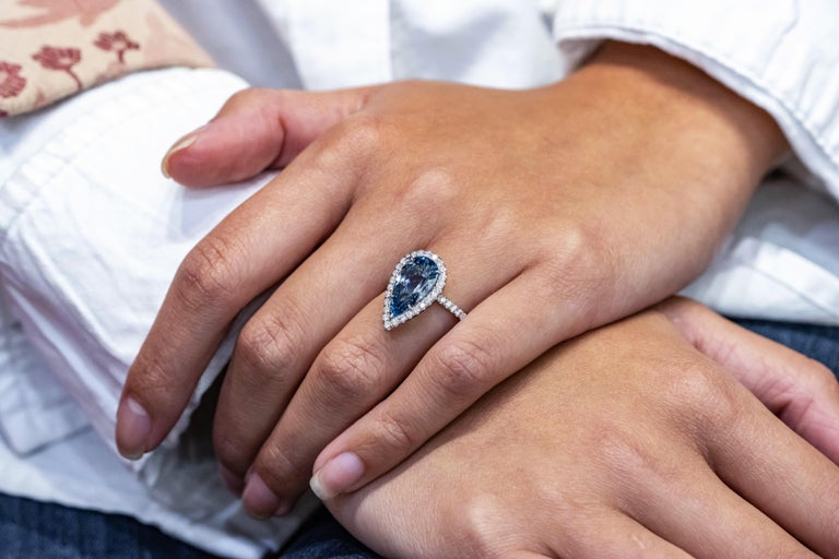GIA Certified Pear Shape Aquamarine and Diamond Halo Engagement Ring For Sale 2