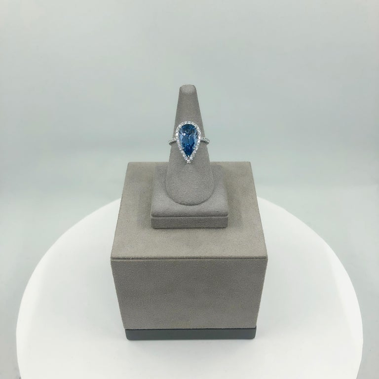 GIA Certified Pear Shape Aquamarine and Diamond Halo Engagement Ring For Sale 3
