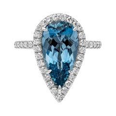 GIA Certified Pear Shape Aquamarine and Diamond Halo Engagement Ring