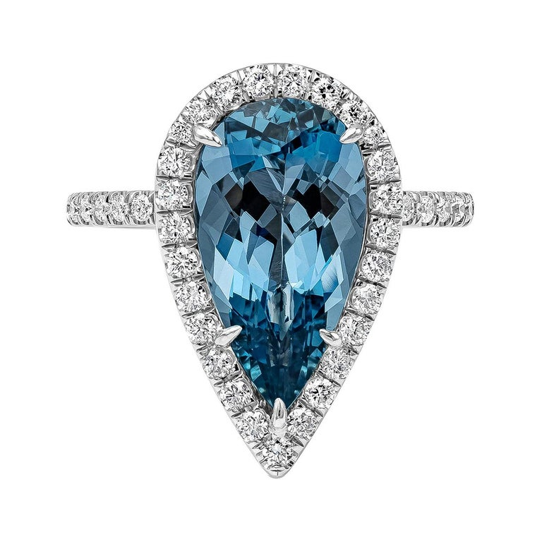 GIA Certified Pear Shape Aquamarine and Diamond Halo Engagement Ring For Sale