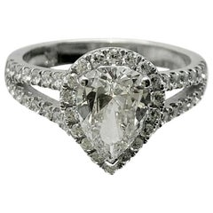 GIA Certified Pear Shape Center Stone of 1.19 Carat J Color and Clarity of VVS2