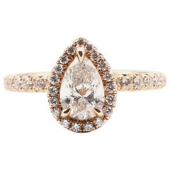 GIA Certified Pear Shape Diamond .90 Carat E SI1 Halo Rose/Pink Gold Ring