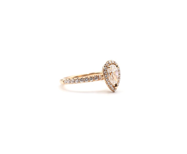 Pear Cut GIA Certified Pear Shape Diamond .90 Carat E SI1 Halo Rose/Pink Gold Ring For Sale