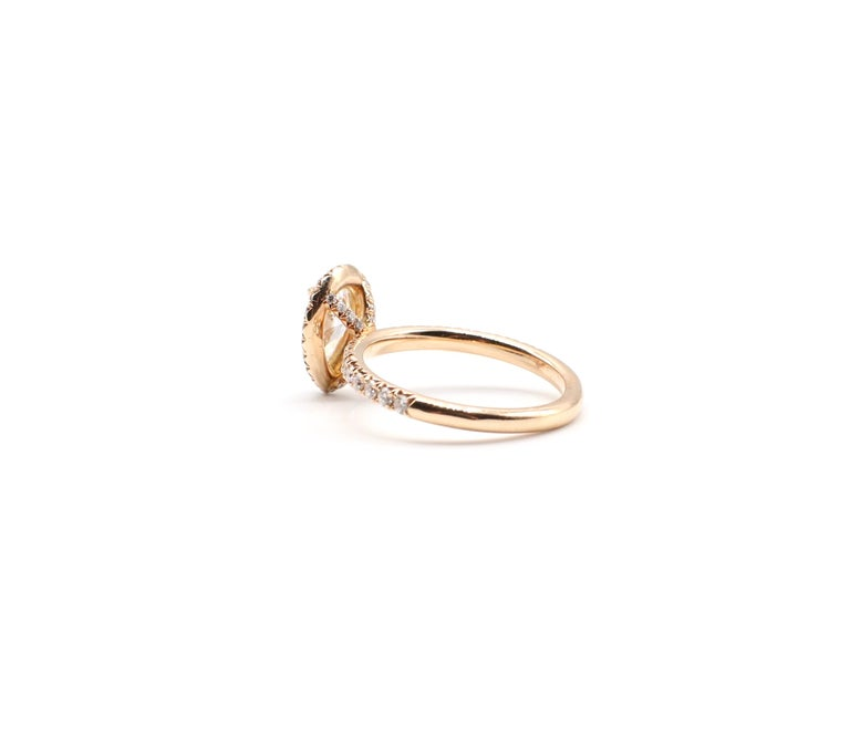 GIA Certified Pear Shape Diamond .90 Carat E SI1 Halo Rose/Pink Gold Ring For Sale 1
