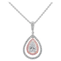 GIA Certified Pear Shape Diamond Double Halo Pendant Necklace