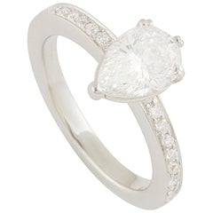 GIA Certified Pear Shape Diamond Engagement Ring 1.21 Carat G/VS1