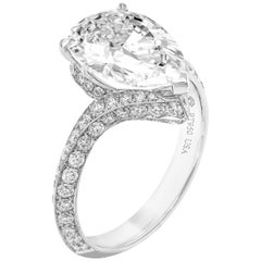GIA Certified Pear Shape Diamond Ring 3.70 Carat I VS2