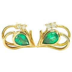GIA Certified Pear Shape Emerald and Diamond Earrings
