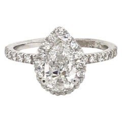 GIA Certified Pear Shape Engagement Ring 1.39 Carat