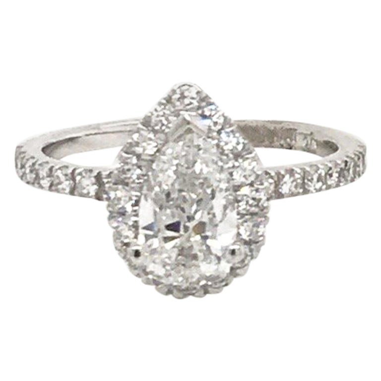 GIA Certified Pear Shape Engagement Ring 1.39 Carat For Sale