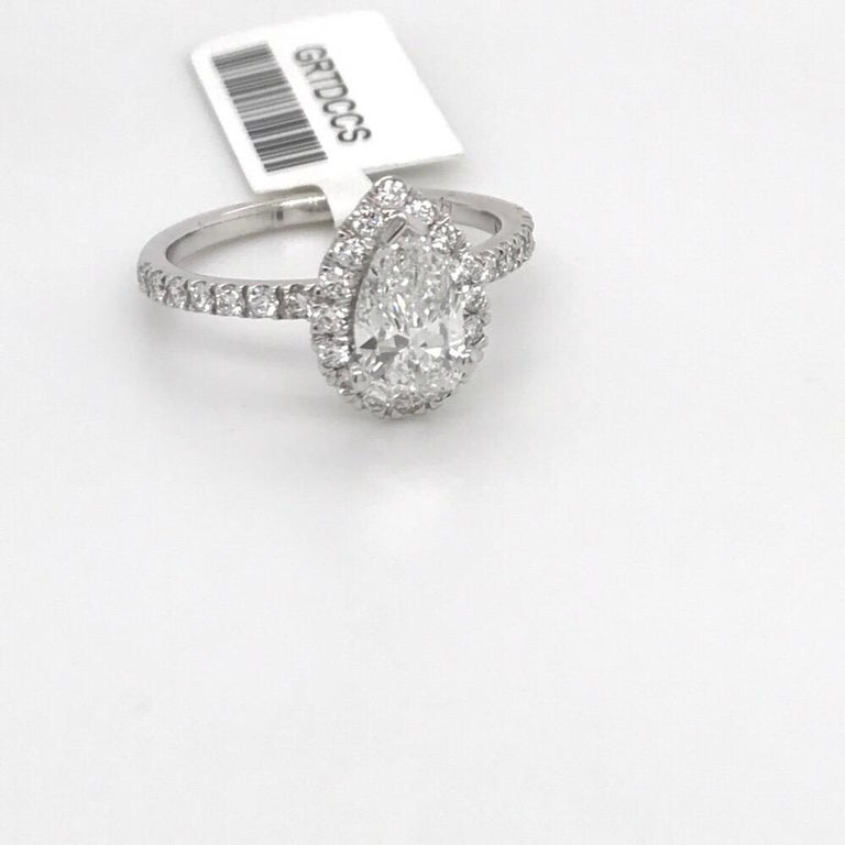 Contemporary GIA Certified Pear Shape Engagement Ring 1.39 Carat For Sale