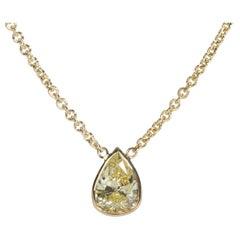 GIA Certified Pear Shape Fancy Intense Yellow VS2 Diamond Necklace 0.75 Carat