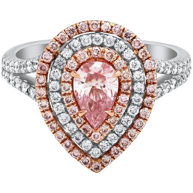 5ed30ac92f3134 GIA Certified Pear Shape Pink Diamond Halo Engagement Ring For Sale ...