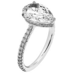 GIA Certified Pear Shaped 2.02 Carat Diamond Ring