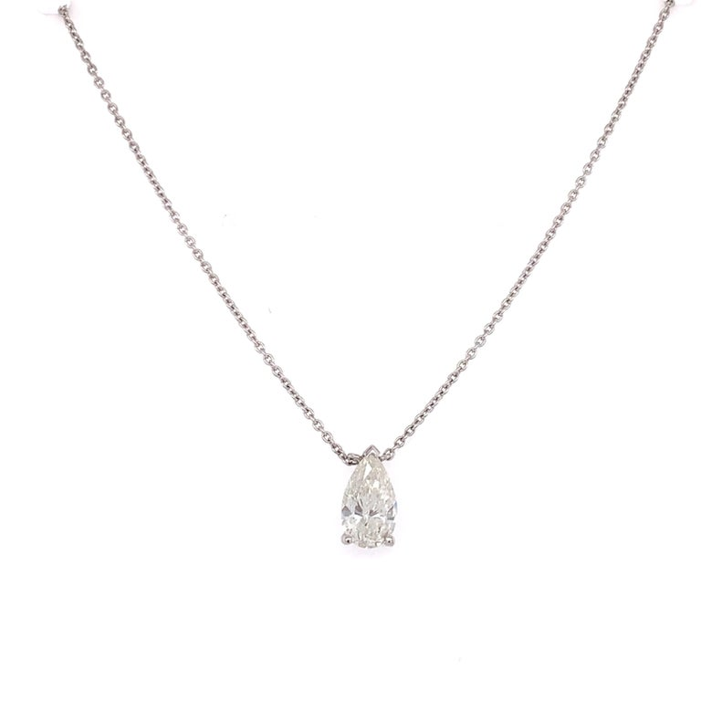 GIA Certified pear shaped diamond pendant necklace made with real/natural pear shaped diamond. Total Diamond Weight: 0.81 carats. Diamond Quantity: 1 pear shaped diamond. Color: I. Clarity: I1. Mounted on a thin 18 karat white gold adjustable chain.