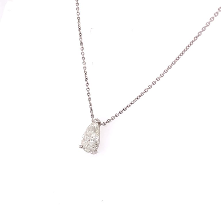 Pear Cut GIA Certified Pear Shaped Diamond Pendant Necklace For Sale
