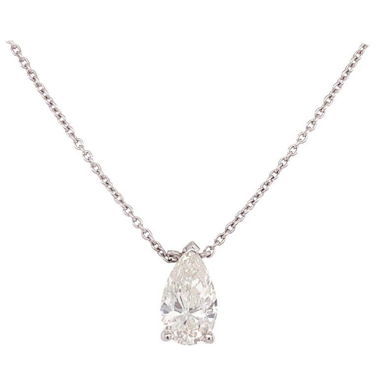 GIA Certified Pear Shaped Diamond Pendant Necklace For Sale