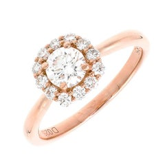 GIA Certified Peter Suchy Diamond Halo Rose Gold Engagement Ring