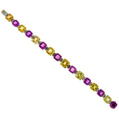 GIA Certified Pink and Yellow Sapphire Diamond Bracelet in Platinum