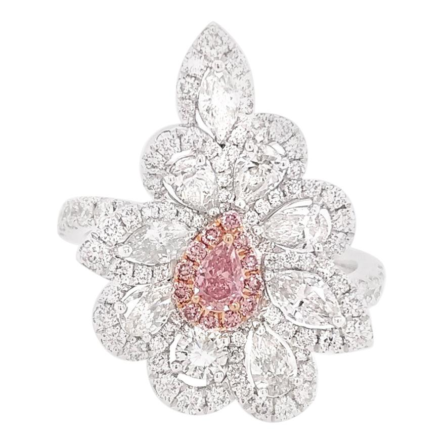 GIA Certified Pink Diamond and White Diamond in Platinum Cocktail Ring