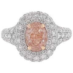GIA Certified Pink Diamond Platinum 18 Karat Pink Gold Solitaire Ring