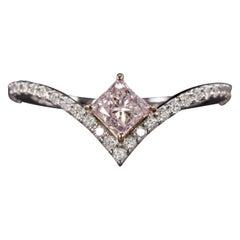 GIA Certified Pink Purple Diamond Pink Gold Ring