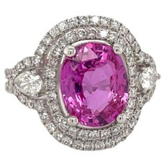 GIA Certified Pink Sapphire & Diamond Ring in 18K White Gold