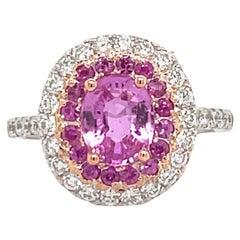 GIA Certified Pink Sapphire No Heat Double Halo 2.27 Carat 18 Karat White Gold