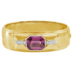 GIA Certified Pink Tourmaline and Diamond Bangle Bracelet