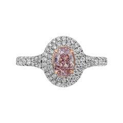GIA Certified Pinkish Purple Oval Cut Diamond Halo Engagement Ring