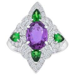 GIA Certified Pinkish Purple Sapphire Tsavorite and Diamond Fashion Ring