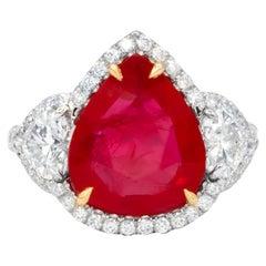 GIA Certified Platinum 6.27 Carat Ruby Diamond Ring