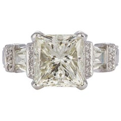 GIA Certified Platinum and Princess Cut Diamond Engagement Ring 6.25 Carat