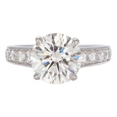 GIA Certified Platinum and Round Diamond Solitaire Ring 3.98 Carat I/SI1