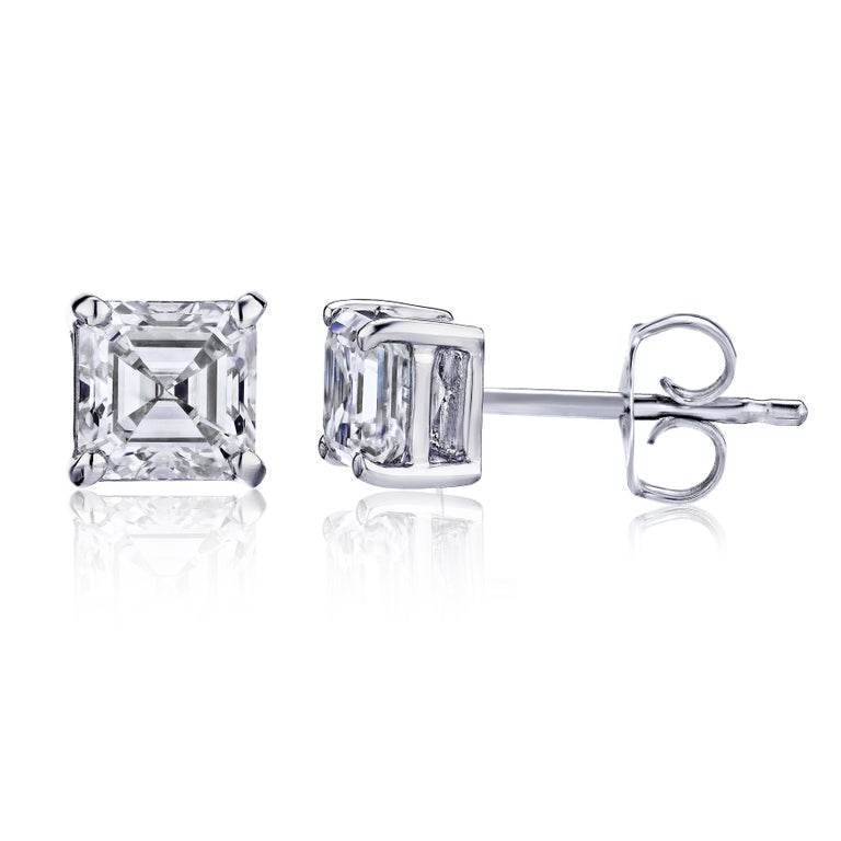 ab7b08e63 GIA Certified Platinum Ascher Cut Diamond Studs 0.75 Carat Total at ...
