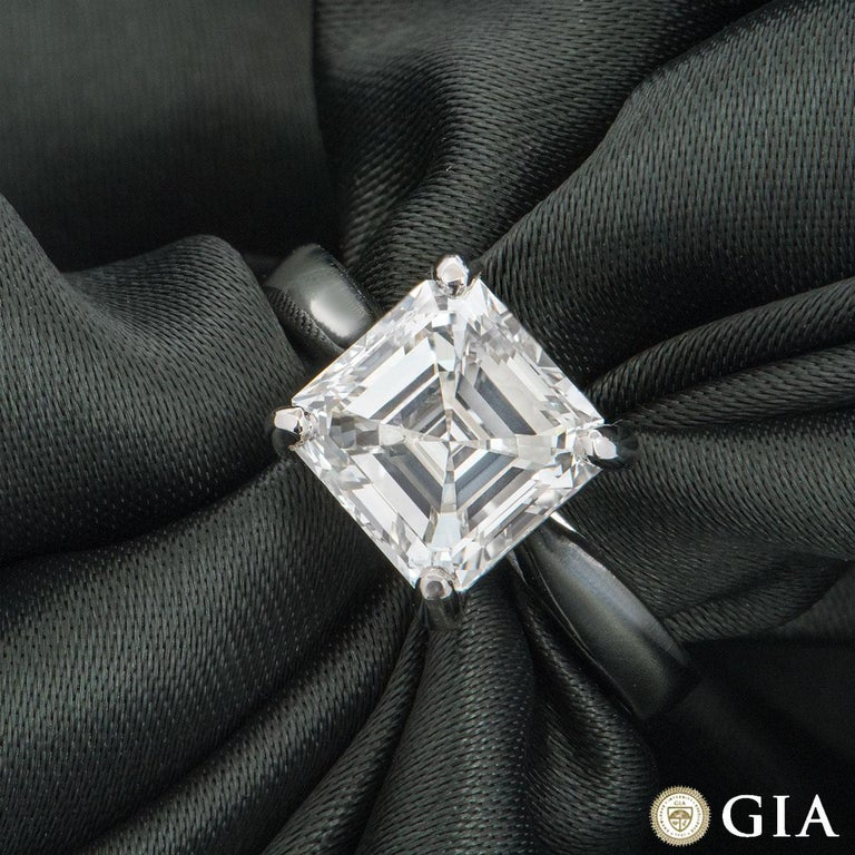 GIA Certified Platinum Asscher Cut Diamond Engagement Ring 3.52 Carat In New Condition For Sale In London, GB