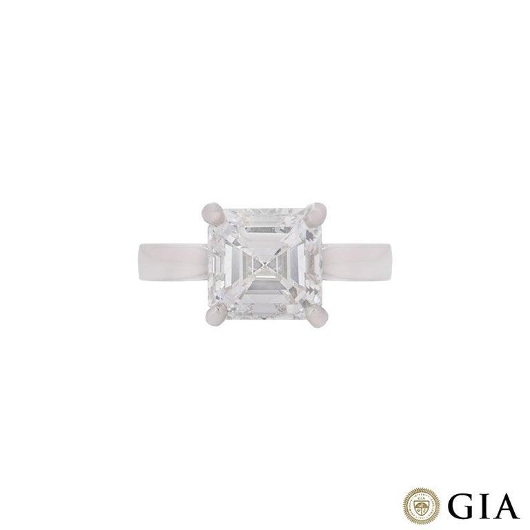 Women's GIA Certified Platinum Asscher Cut Diamond Engagement Ring 3.52 Carat For Sale