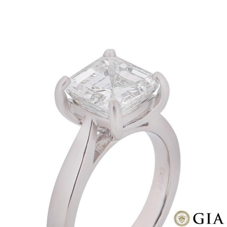 GIA Certified Platinum Asscher Cut Diamond Engagement Ring 3.52 Carat For Sale 1