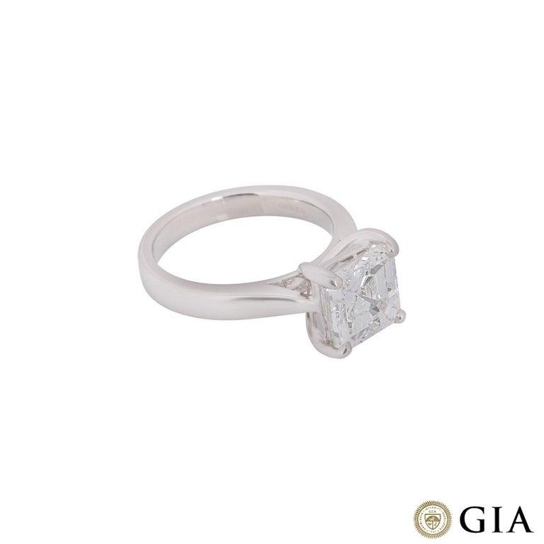 GIA Certified Platinum Asscher Cut Diamond Engagement Ring 3.52 Carat For Sale 3