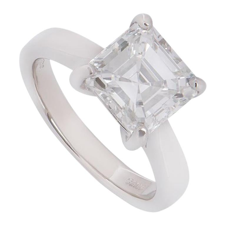GIA Certified Platinum Asscher Cut Diamond Engagement Ring 3.52 Carat For Sale