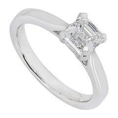 GIA Certified Platinum Asscher Cut Diamond Ring 1.01 Carat F/VS2