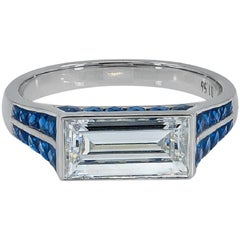 GIA Certified Platinum Baguette Diamond with 1.56 Carat and Sapphire Ring