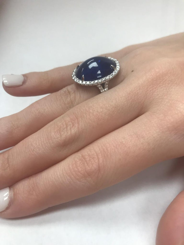 Contemporary GIA Certified Platinum Cabochon Cut Sapphire and Diamond Ring For Sale