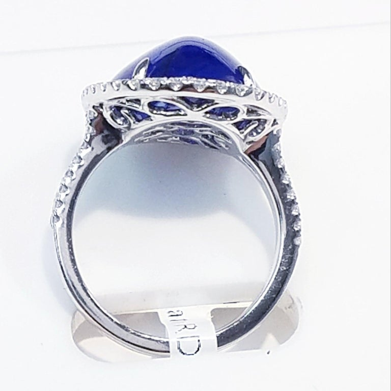 Oval Cut GIA Certified Platinum Cabochon Cut Sapphire and Diamond Ring For Sale