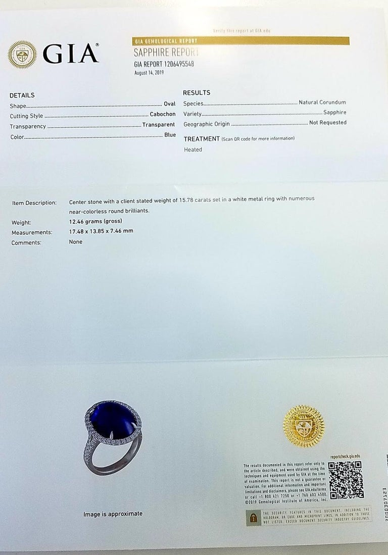 GIA Certified Platinum Cabochon Cut Sapphire and Diamond Ring In New Condition For Sale In Great Neck, NY