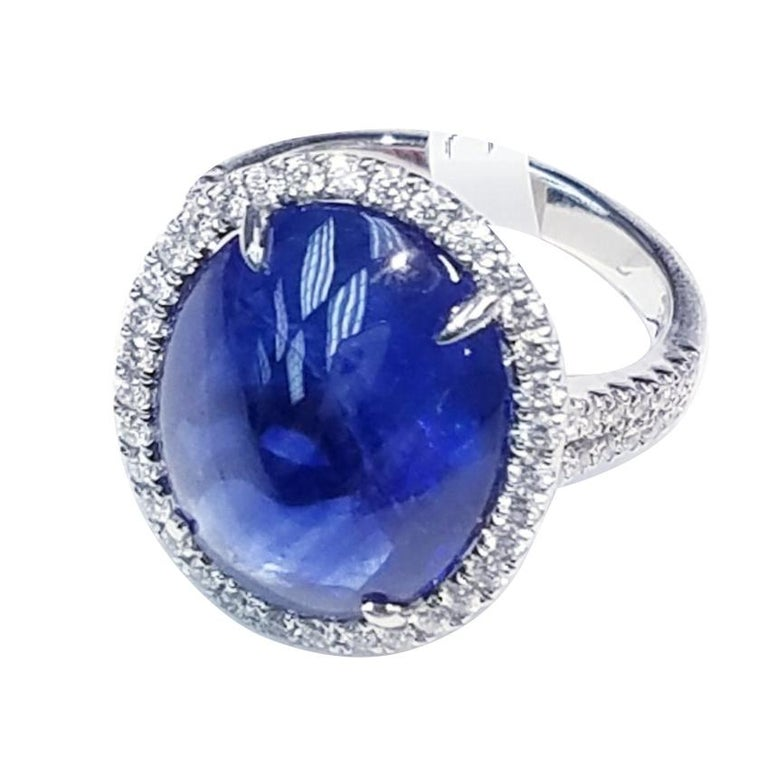 GIA Certified Platinum Cabochon Cut Sapphire and Diamond Ring For Sale