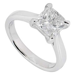 GIA Certified Platinum Cushion Cut Diamond Engagement Ring 2.00 Carat F/VS2