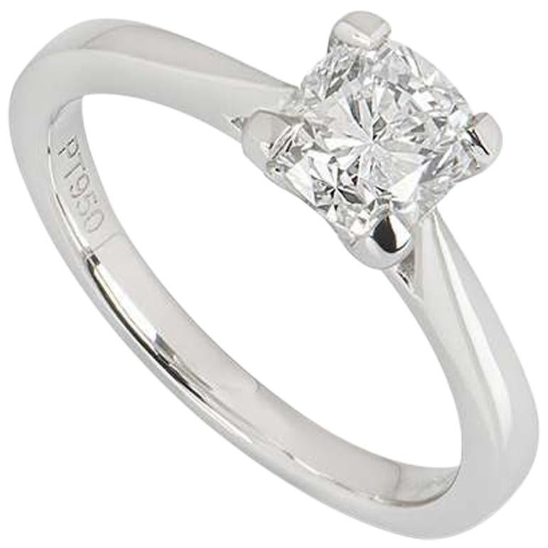 GIA Certified Platinum Cushion Cut Diamond Ring 1.01 Carat E/VS2