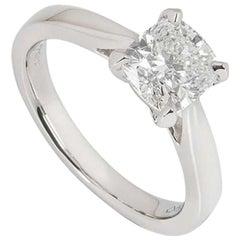 GIA Certified Platinum Cushion Cut Diamond Ring 1.51 Carat