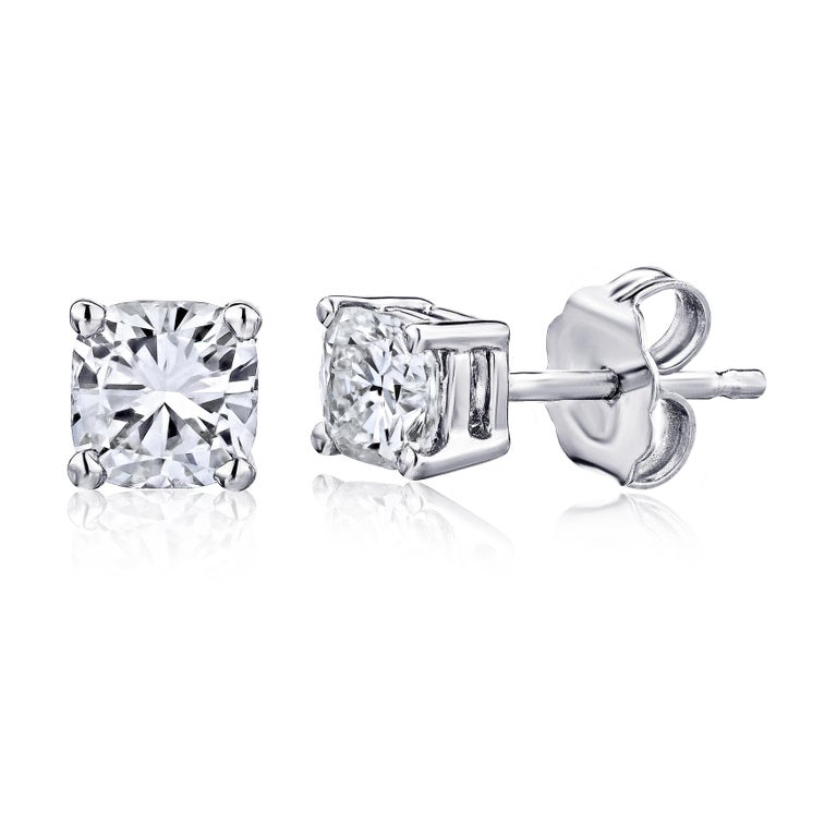 Contemporary GIA Certified Platinum Cushion Cut Diamond Studs 0.50 Carat Total For Sale